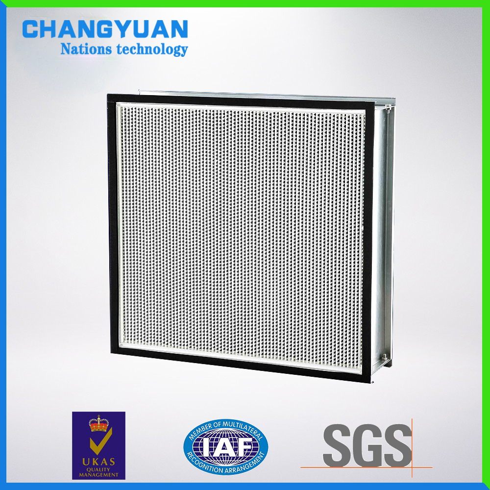 HEPA filter, H14 effency, fiberglass media air filter for cleanroom