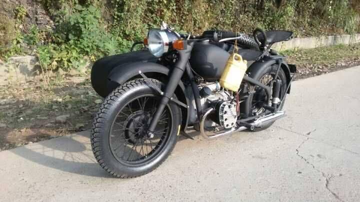 Classic german grey 750cc motorcycle sidecar