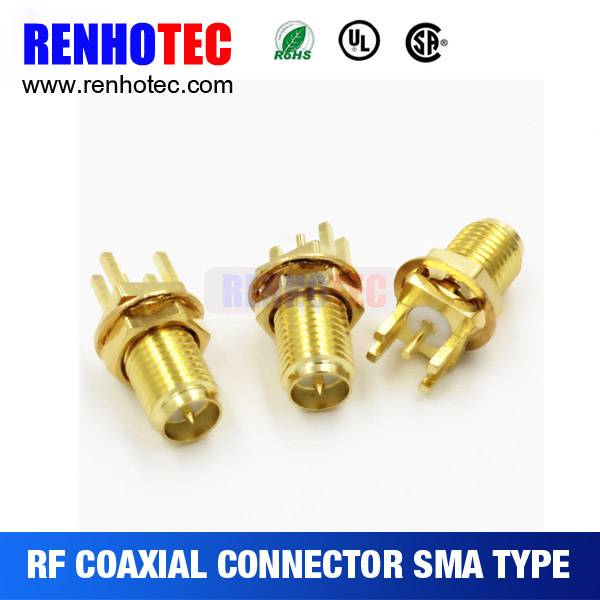 Factory price sma female stright pcb mount connector