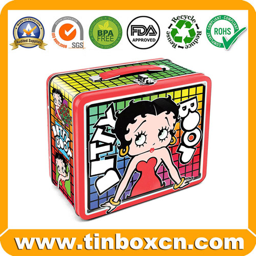 Sell tin lunch box,lunch tin box,tin box with handle and latch