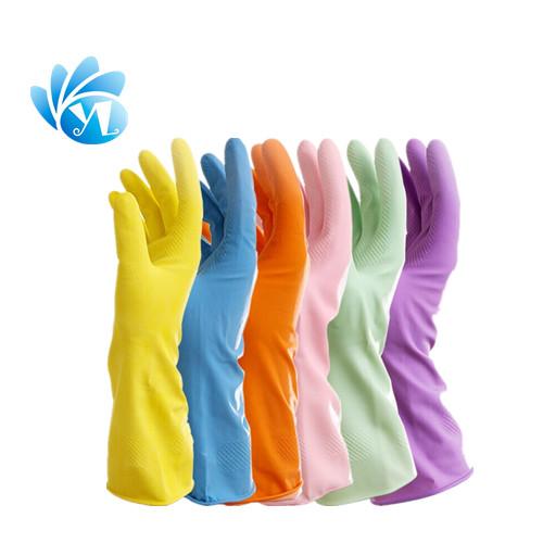 Flockline household rubber gloves , latex gloves , cleaning gloves