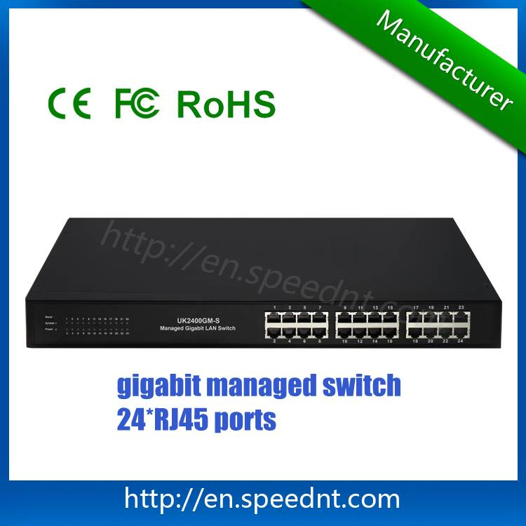 L2/L4 Gigabit managed LAN switch UK2400GM-S 24 RJ45 port supporting wire-speed switching