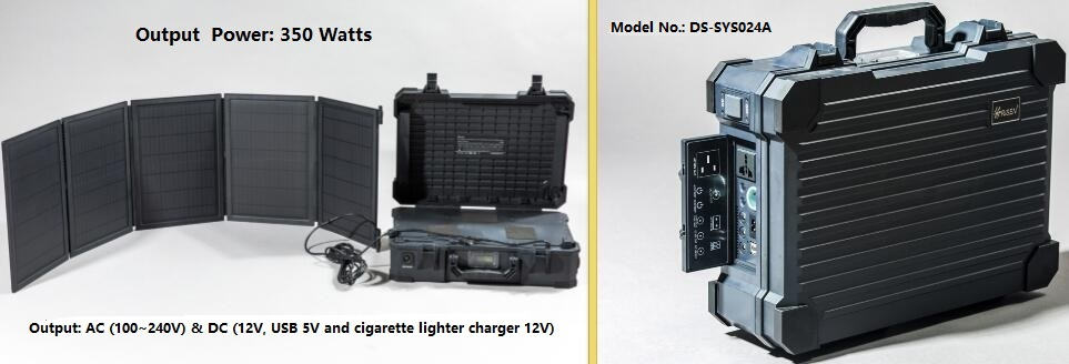 350W portable solar panel system, 50W foldable solar panel & built-in lithium battery, AC&DC output