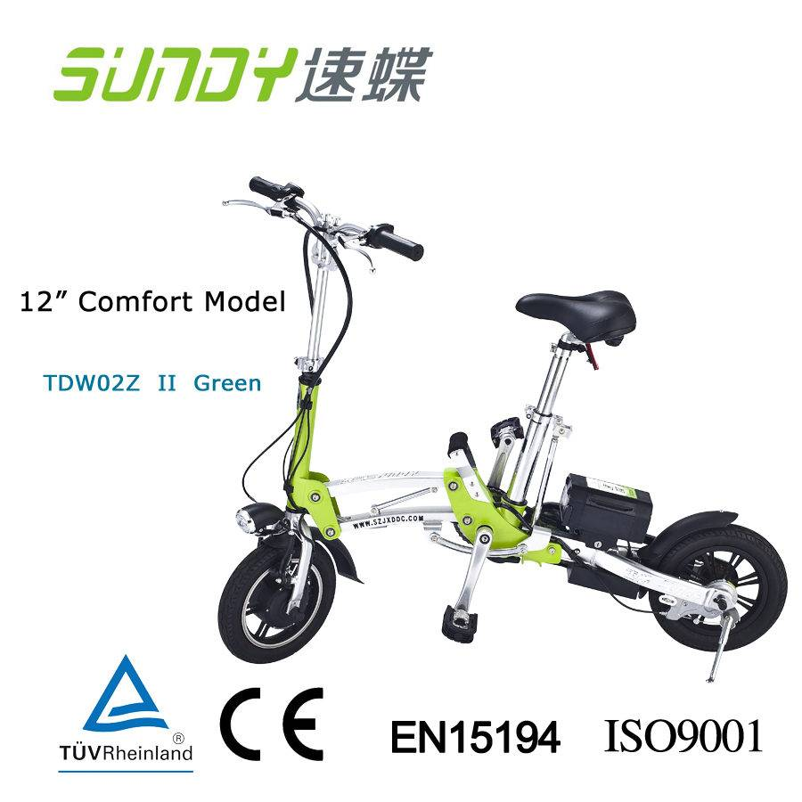 12-Inch Lithium Battery Mini Folding Electric Bicycle-green