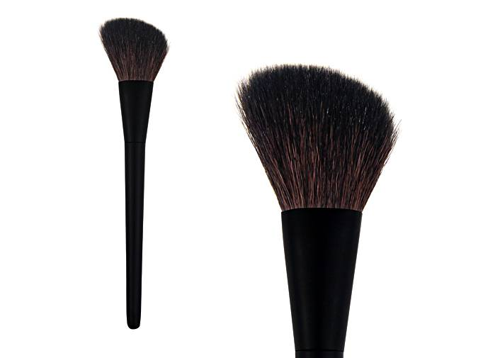 Bevel Brown Goat Hair Contour Blush Brush Metal Ferrule Slightness Plastic Handle