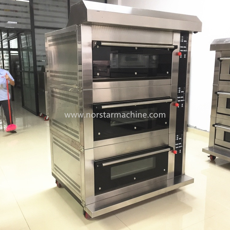 Bakery deck oven 3 deck 6 trays gas oven with steamer