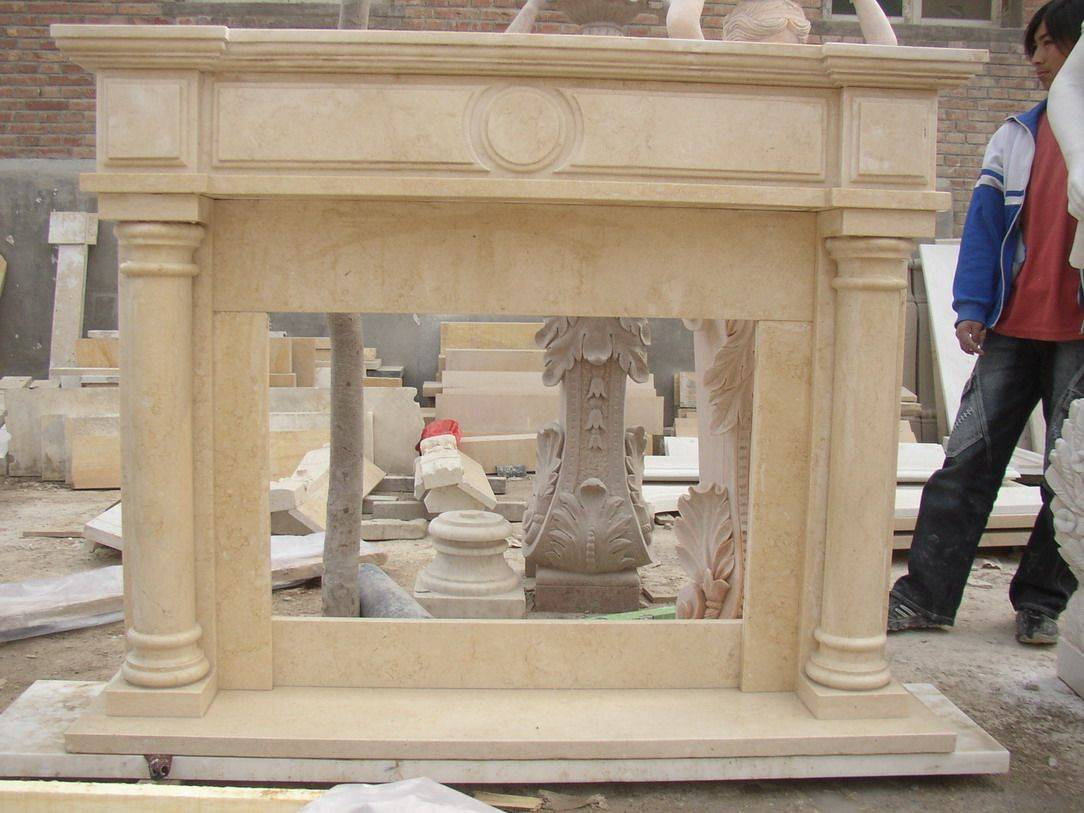 Marble carved stone fireplace