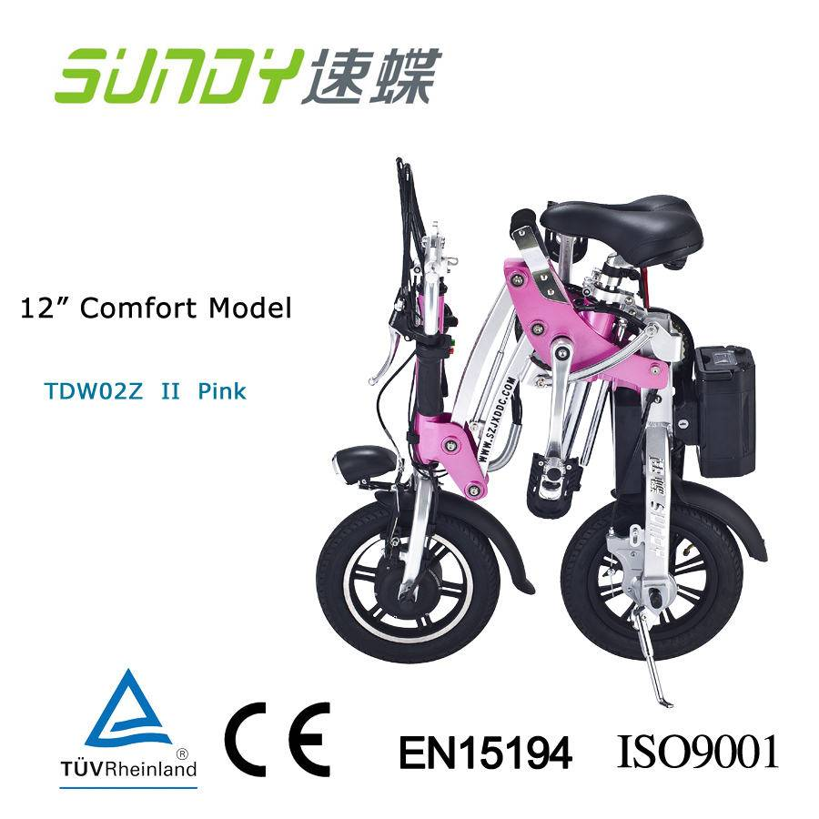 12-Inch Li-ion Battery Mini Folding Electric Bicycle-pink