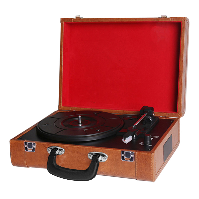 Portable Suitcase Retro Phono Vinyl Record Turntable Player with Bluetooth