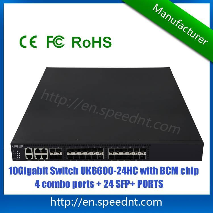 10Gigabit Data Center Switch UK6600-24HC high performance with 24 SFP+ ports 4 combo ports for sale