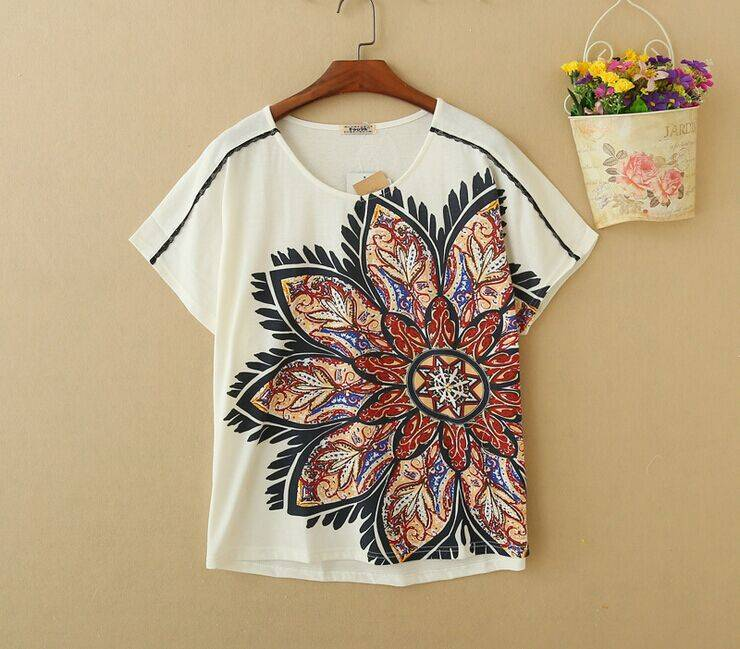 2015 New Lady Flower Short SleeveT-Shirt