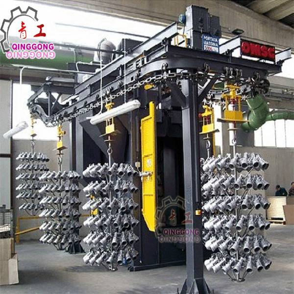 Automatic Hanger Overhead Rail Cleaning Shot Blasting Machine