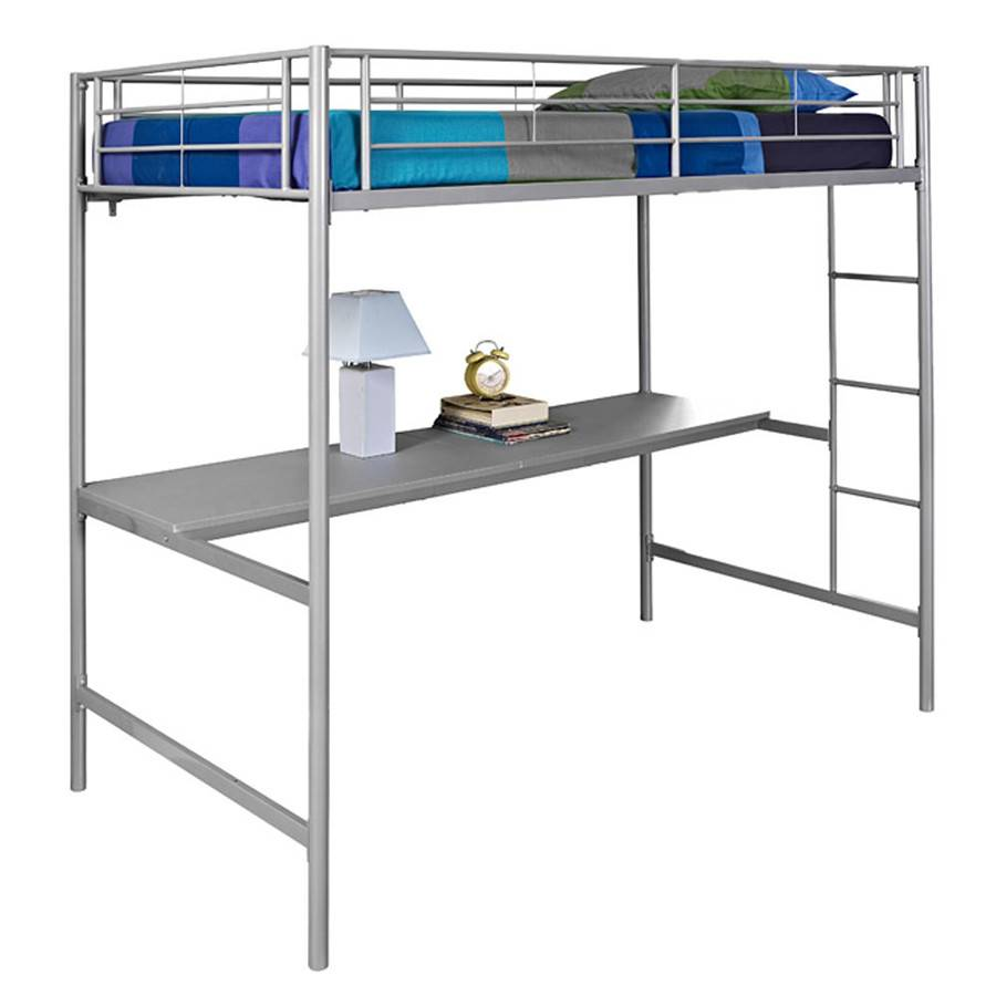 Modern Furniture Silver Metal Twin Workstation Loft Bunk Bed With Desk