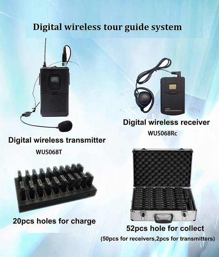 2.4G digital wireless tour guide system for tour group and museum