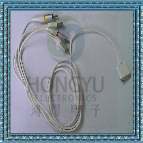 ac video and stereo audio power cable for ipod shuffle/ ipad/iphone