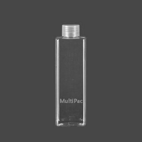 240ml square PET bottle with screw cap, plastic cosmetic packaging