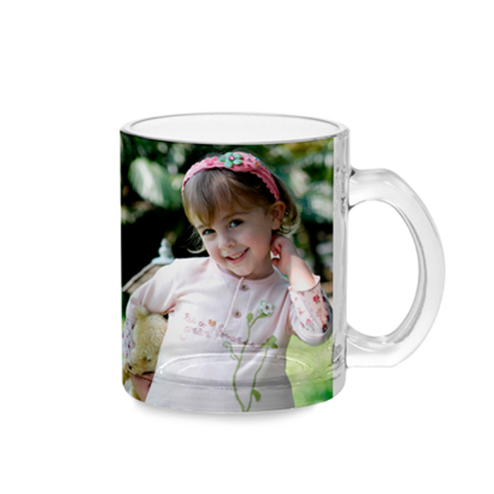 Straight up straight down glass cup with handle ( transparent / frosted )-0.30L