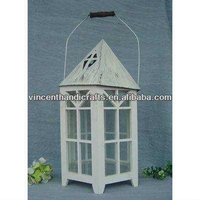 Country grungy house shape white wooden candle lantern