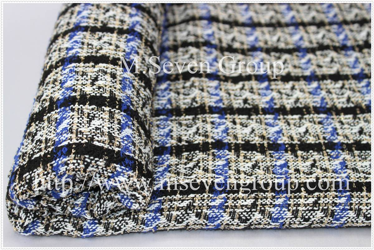 Wool Polyester Blend Tweed Fabric