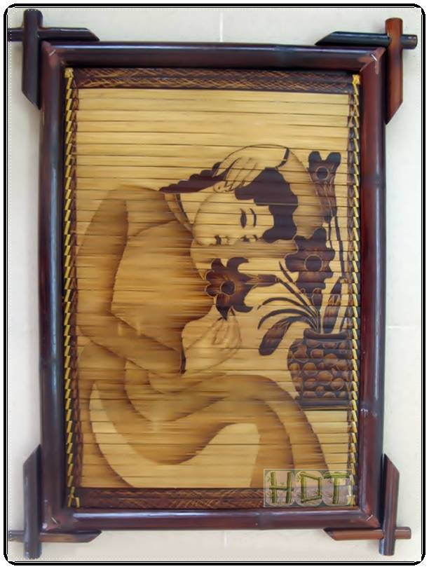 Bamboo Painting Handicraft Portraits (Young Woman with Lilly Artwork)_ This Is Not Painted