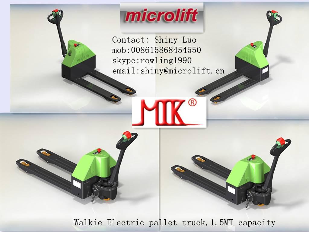 Walkie Electric Pallet Truck factory, Microlift or OEM brand, ET15 model, 1.5MT capacity, 540/685mm