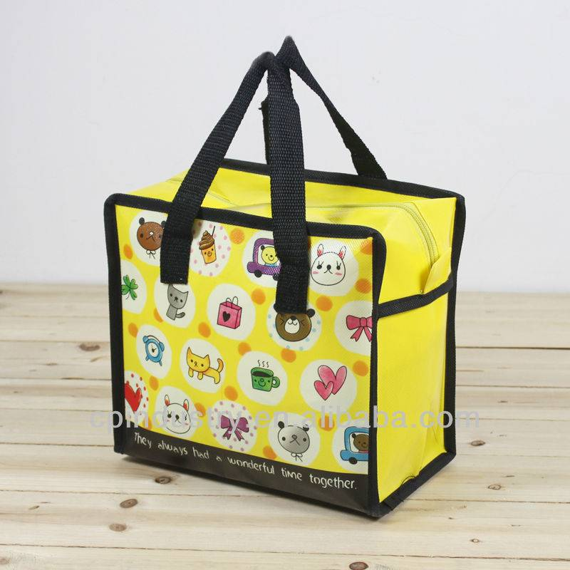 Yellow cartoon laminated shopping Bag