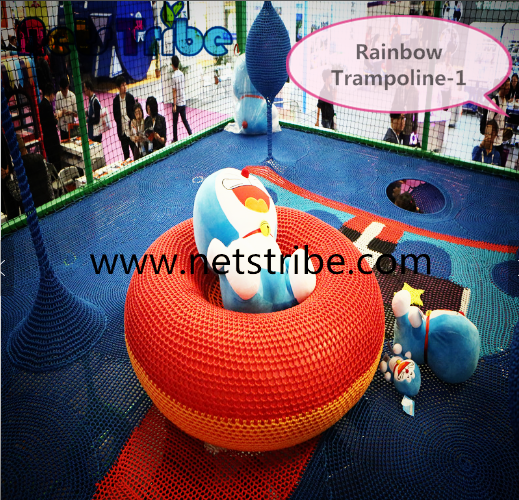 Best-selling Europe and America, nylon rope rainbow trampoline indoor playground product