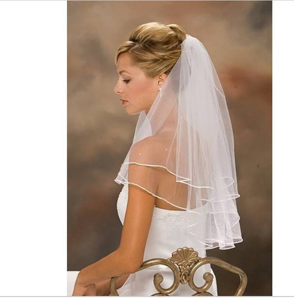 2014 Hot Sale In Stock Wholesale Price Top Quality White/Ivory Two Layer Bridal Veil with Comb