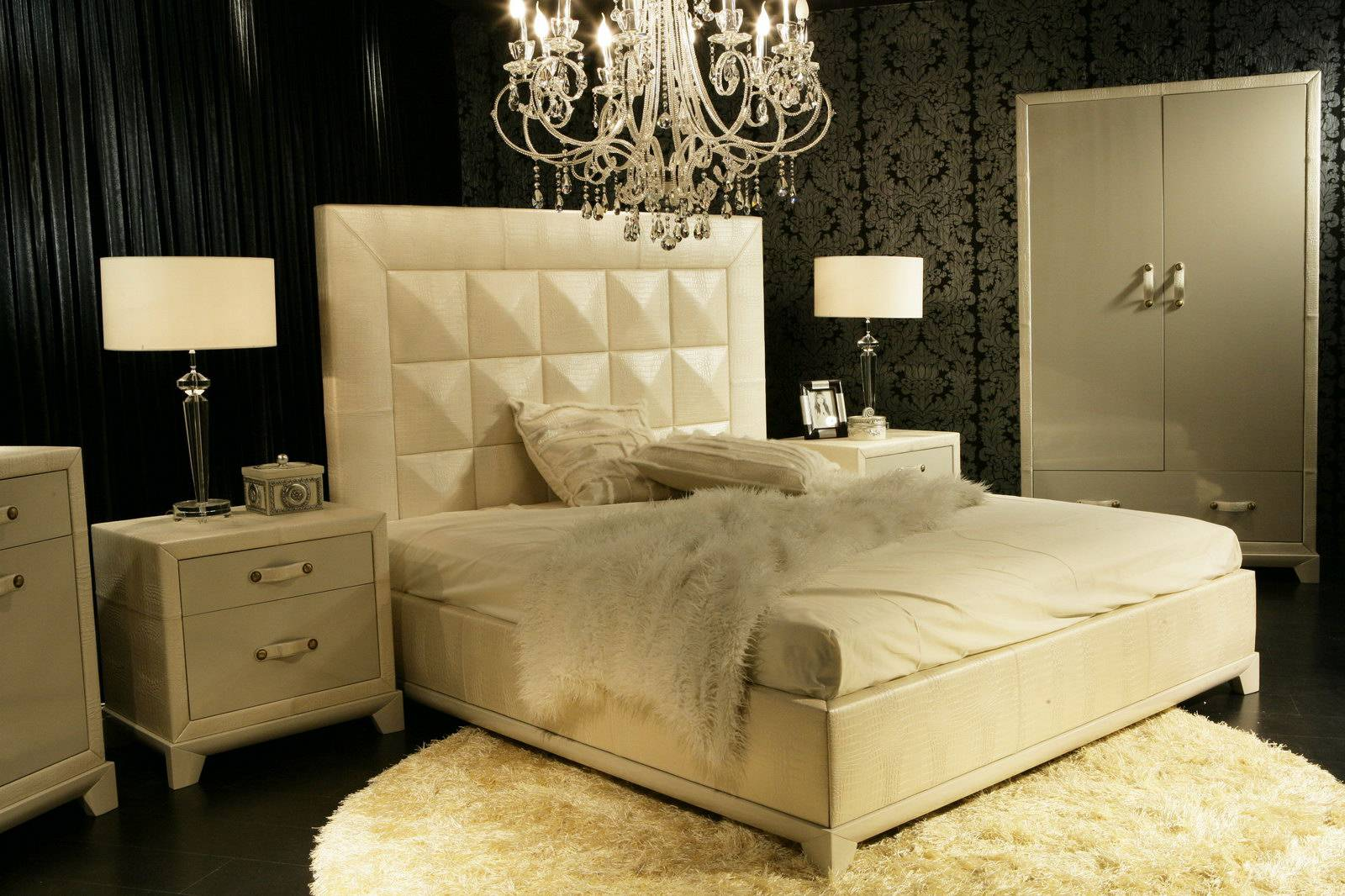 Leather Bed With Gold Veined Bedside Cabinets