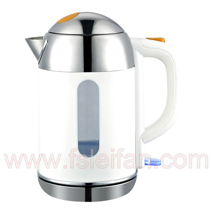 electrcial chromed on handle double wall kettle