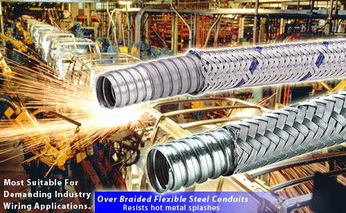 Over Braided Flexible Steel Conduits for industry robots wirings