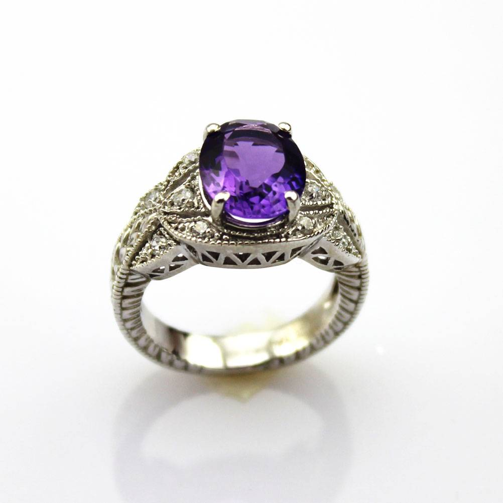 925 Sterling Silver Ring with Amethyst Cubic Zircon (F94)