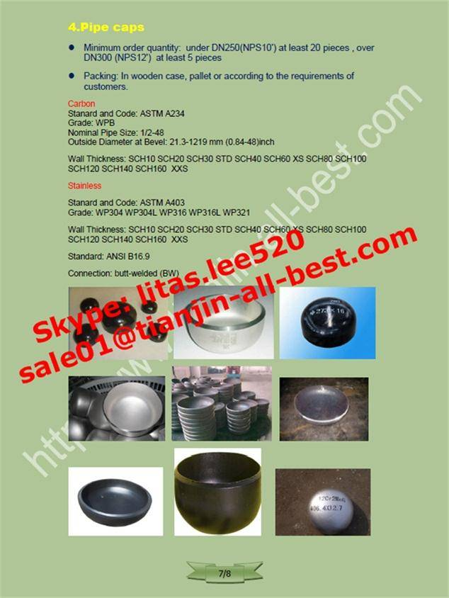 carbon and stainless pipe weld steel cap