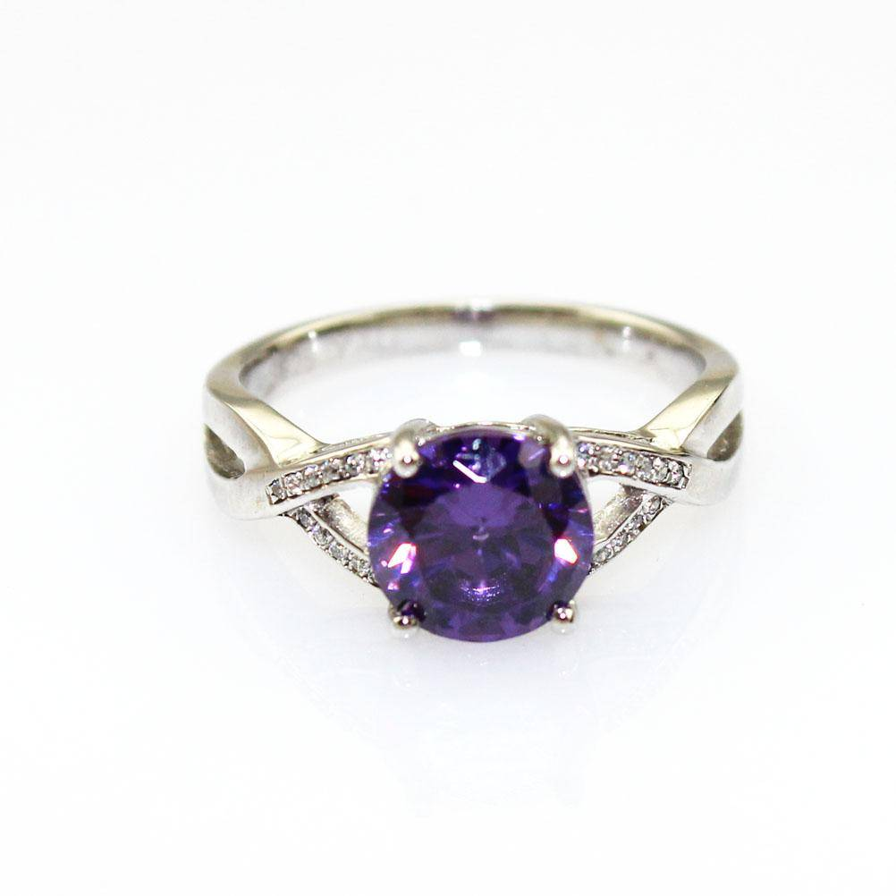 925 Sterling Silver Ring with Amethyst Cubic Zircon (F93)