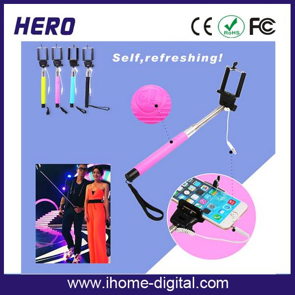 Cheapest price and high quality selfie stick extendable monopod with cable