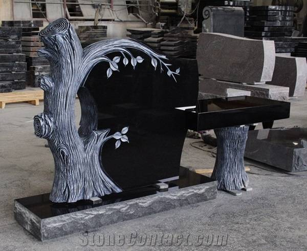 germany black granite headstone with trees