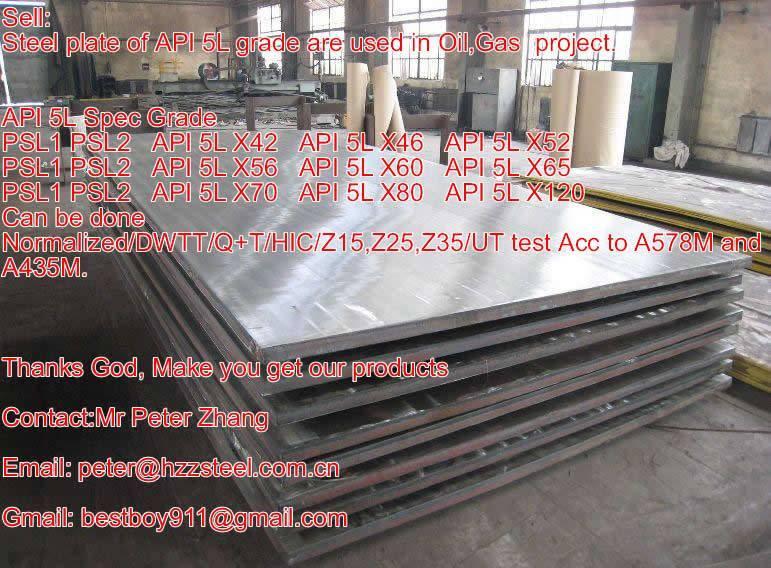 Sell :Spec API 5L Spec PSL1/SPL2/Grade,X42,X46,X52,X56,X60,X65,X70,X80/ Oil Gas pipe/steel plate
