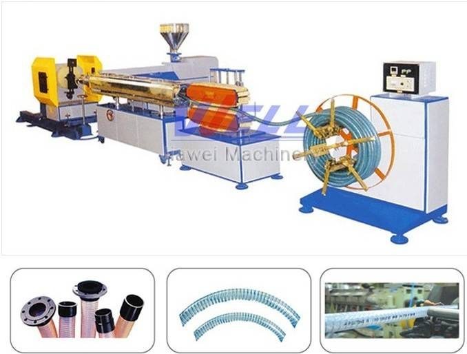 PVC steel wire spiral reinforcing hose production line