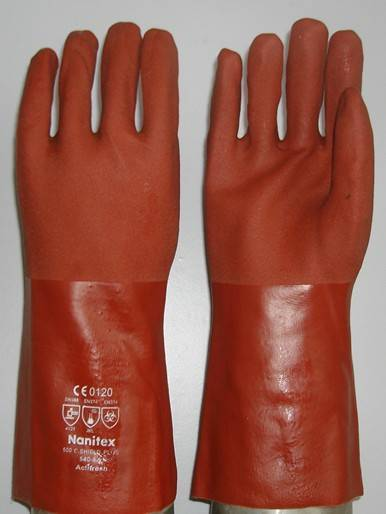 Sell Red PVC fully coated/dipped work glove sandy finish