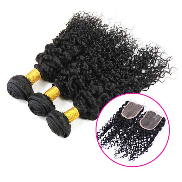 8A Peruvian Water Wave Human Virgin Hair Weave 3 Bundles With Lace Closure