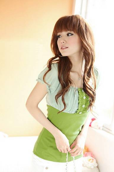 Tight Shirt Girl Wear Wear Clothes Short Sleeve Square Collar Two Colors Chiffon Shirt