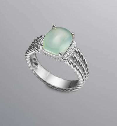 10X8MM Petite Wheaton Ring Aquae Chalcedony