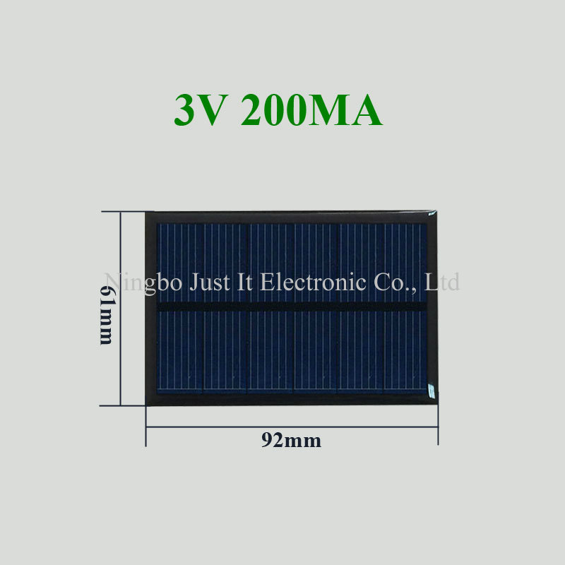 3V 200mA 0.6W 92x61mm Custom Epoxy Solar Panel