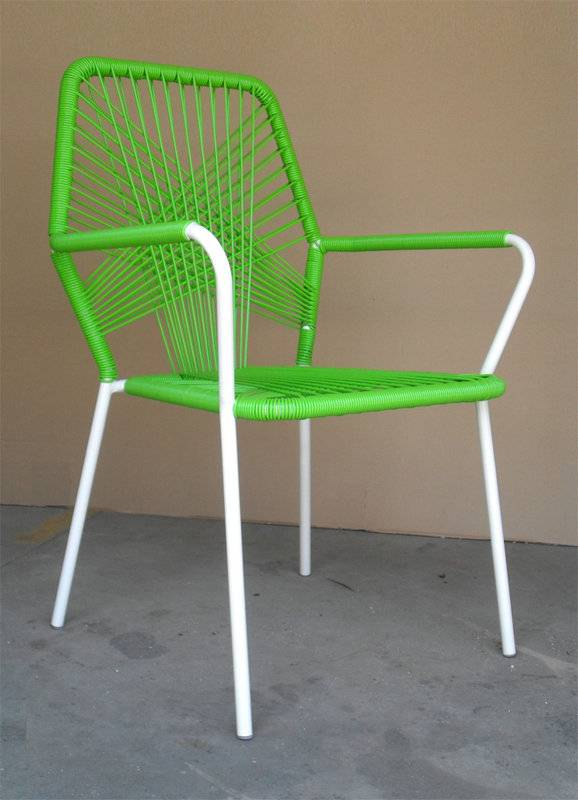 Thick round rattan sparsely weaving colorful outdoor dining leisure chair I-S1001