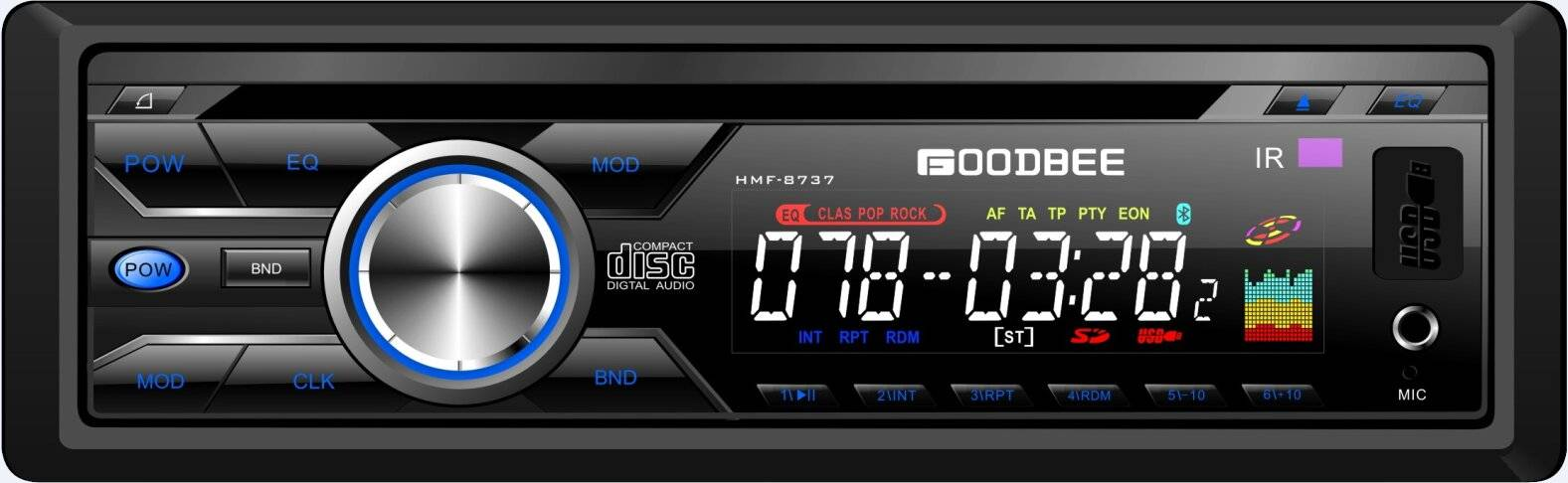 Detachable Panel Car CD,MP3 Player HMF-8737