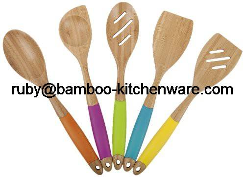 Cooking Lover Bamboo Spatula Painting Tools for Kitchen,Bamboo Silicone Color Utensil