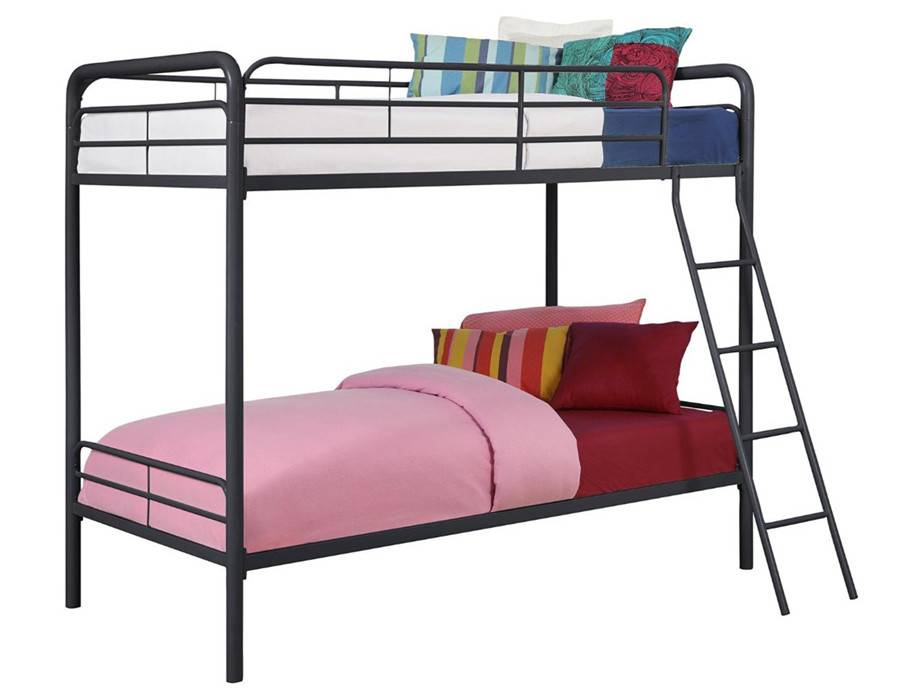 wholesale modern kids/adult bedroom furniture metal twin over twin bed, black