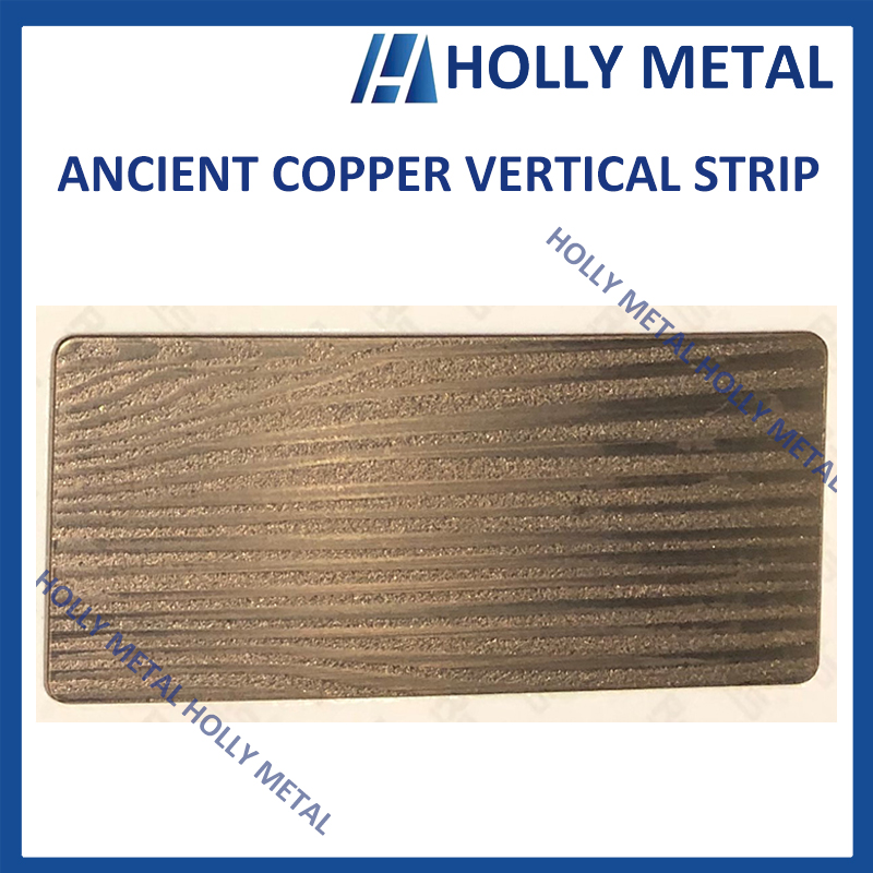 Stainless Steel Pattern Embossed Etched Decoration Sheet (Ancient Copper Vertical Strip)
