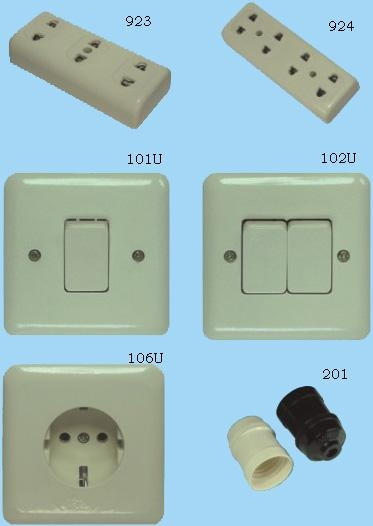 Wall switch, household socket and lamp holder