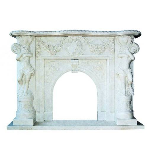 marble fireplace,flower carved firepalce,statue carved fireplace